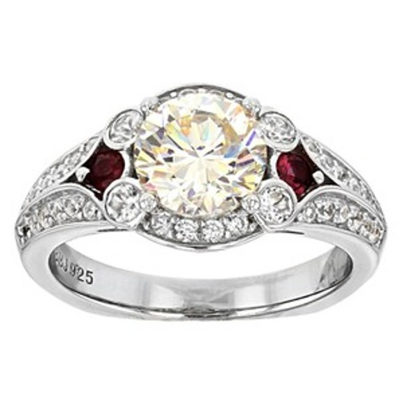 3.02cttw Thorsonite, Red Spinel, And White Zircon Platinum Plated SS 925 ring